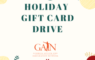 Text reads: GAIN Holiday Gift Card Drive against a background of green, white, and red dots.