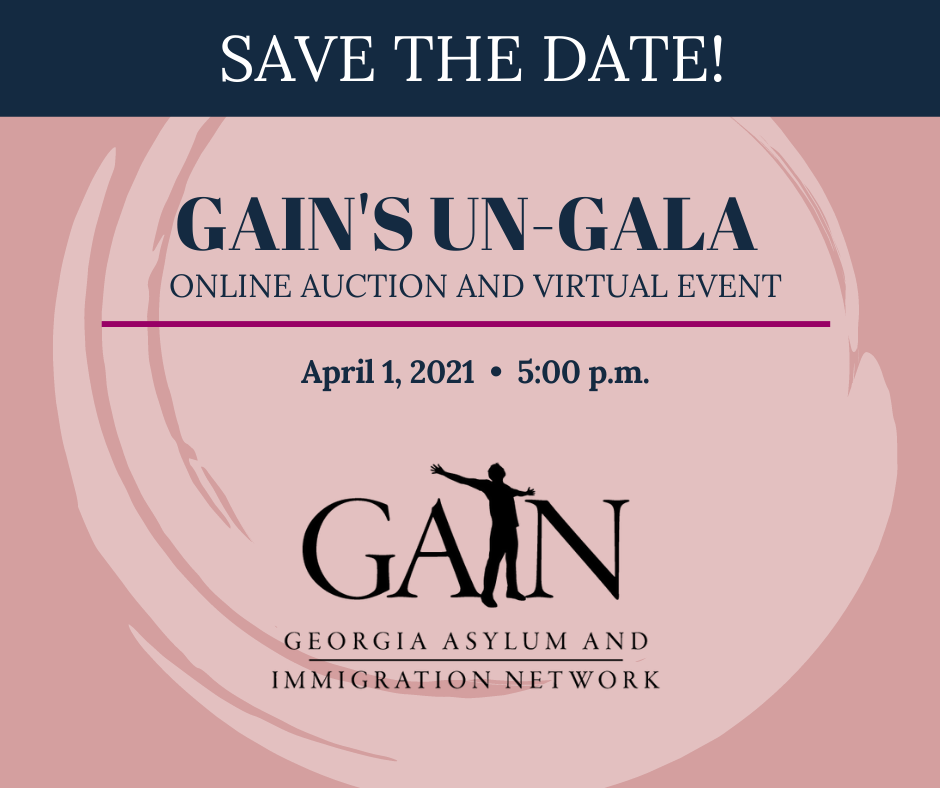 Image is a rosy beige swirl that includes the GAIN logo and reads: save the date! GAIN's Un-Gala online auction and virtual event, April 1, 2021, 5:00 p.m.