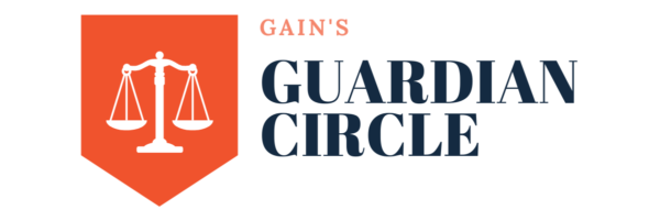 Guardian Circle logo includes an orange banner with a white outline of the scales of justice