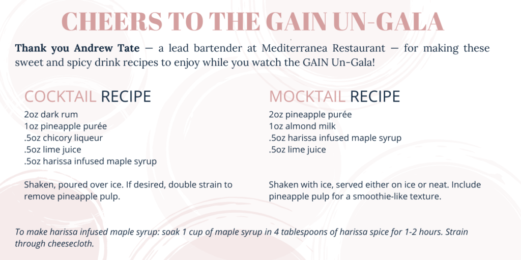 Recipe card for a sweet and spicy cocktail and cocktail.